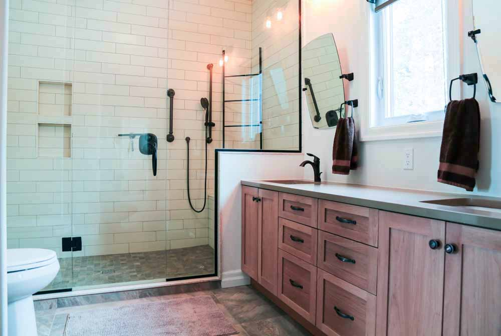 Guildcrest Factory Built Home - Solid Wood Cabinetry with Custom Shower by Bay Builders